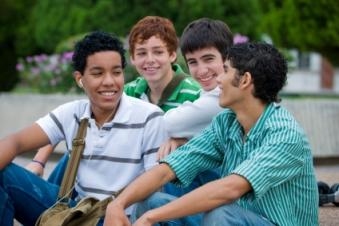 teens laughing