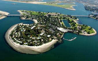Island aerial of Paradise Point Resort