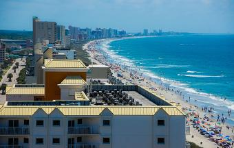 Row of hotels at Myrtle Beach, South Carolina
