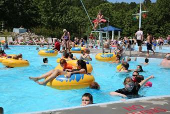Floating in pool Wetlands Water Park