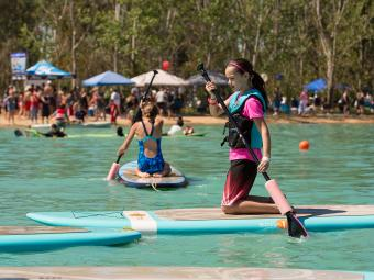 Paddle Boarding at Water Park
