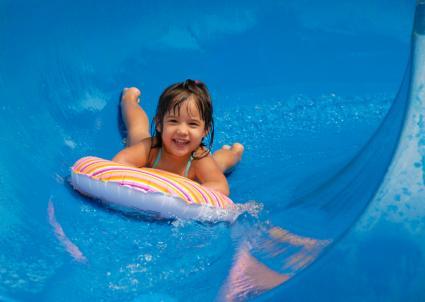 Girl on waterslide