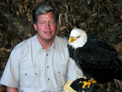 Dan Stockdale with bald eagle from Wings of America; image used with his permission