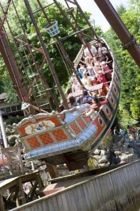 Pirate ship ride at Gulliver's Matlock Bath Theme Park