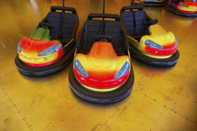 Colorful bumper cars