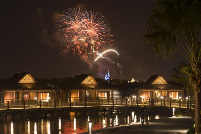 The Bora Bora Bungalows at Disney's Polynesian Villas & Bungalows: Fireworks Over Magic Kingdom