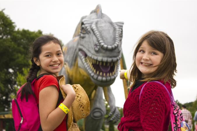 Girls with Dinosaur