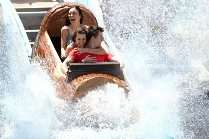 Getting splashed in Log Flume Ride