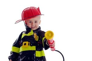 child with fireman uniform
