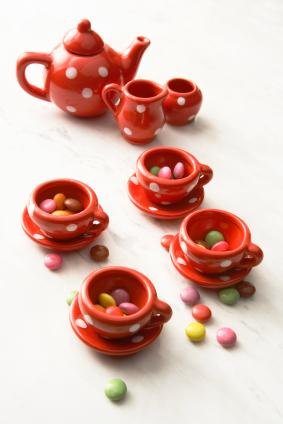 red polka dot tea set