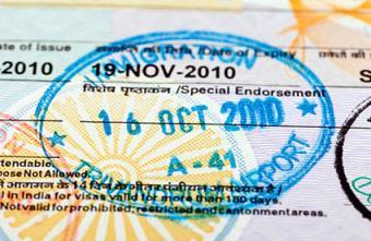 Indian visa stamp on passport page