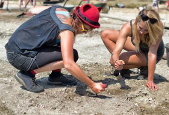 Women having fun on a dig