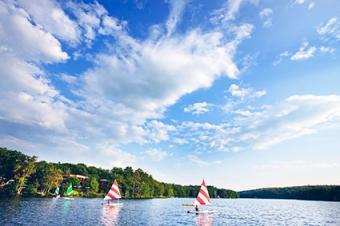 Boats on lake at Woodloch Pines Resort