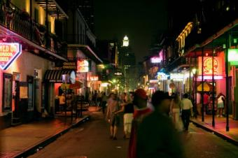 People in Bourbon Street at night