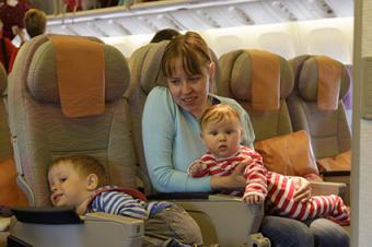 Mother with two kids on airplane