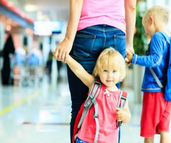 Mom with kids in airport