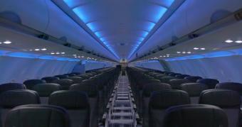 View of JetBlue Airways' cabin interior