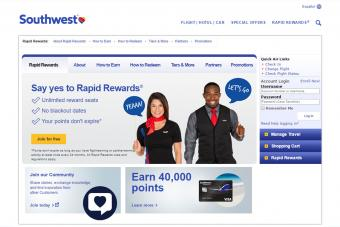 Southwest Rapid Rewards for frequent flyers screenshot