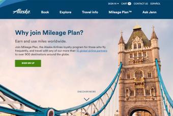 Alaska Mileage Plan for frequent flyers screenshot