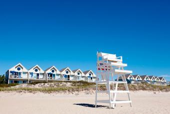 Lifeguard chair on beach, Montauk, East Hampton, New York State