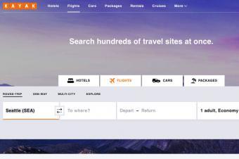 Kayak homepage