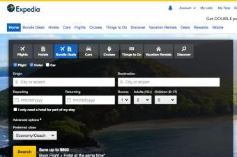 Screenshot of expedia.com homepage