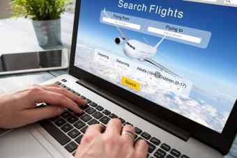 Booking flight travel on computer