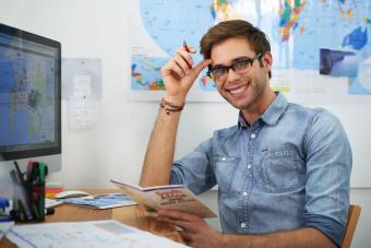 Man in travel agent online school