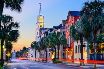 Empty street in Charleston, South Carolina