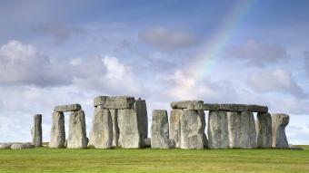 Rainbow over Stonehenge, Salisbury Plain, UK