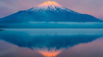 Mount Fuji and reflection Yamanaka lake, Japan