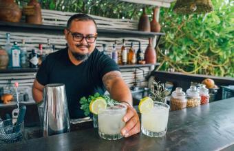 Bartender Serving Margarita's