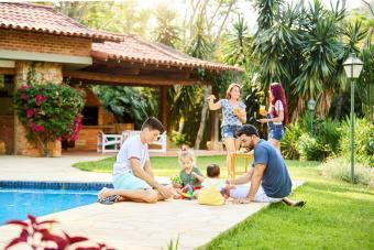 Two families enjoying holidays