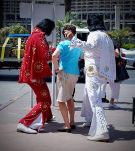 Two Elvis impersonators in Las Vegas