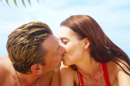 Couple kissing on a romantic getaway