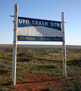 Roswell UFO crash site sign