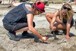 Women having fun on a dig