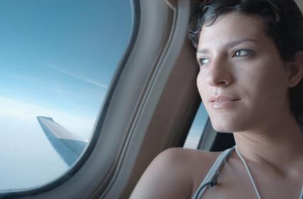 Traveler on a plane