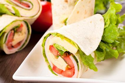 Tasty wrap with vegetables and protein