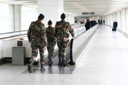 Servicemen at airport