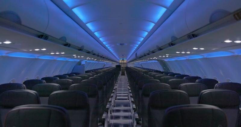 View of JetBlue Airways' cabin interior