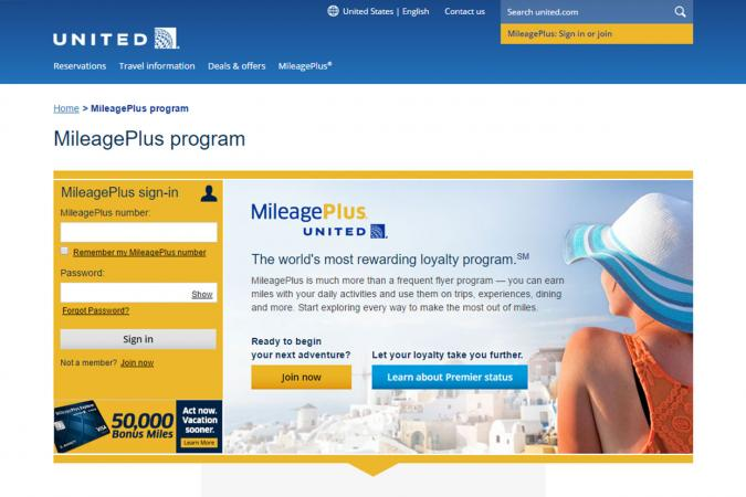 United MileagePlus Program for frequent flyers screenshot