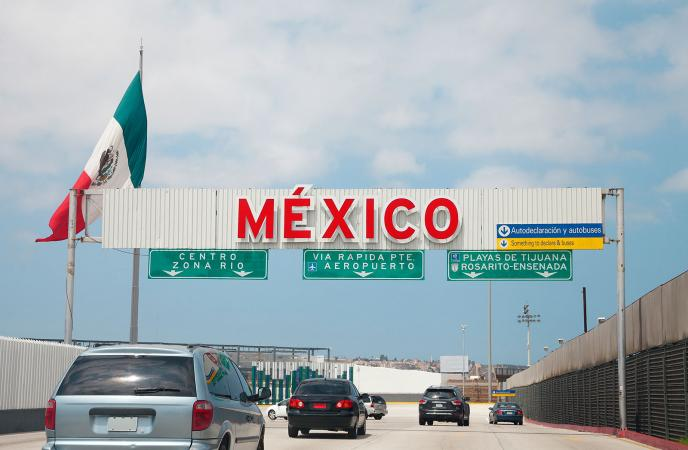Entrance to Tijuana Baja California at US Border with Mexico