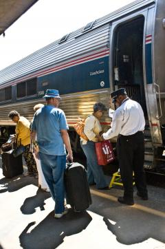 Seniors boarding Amtrak coachclass train
