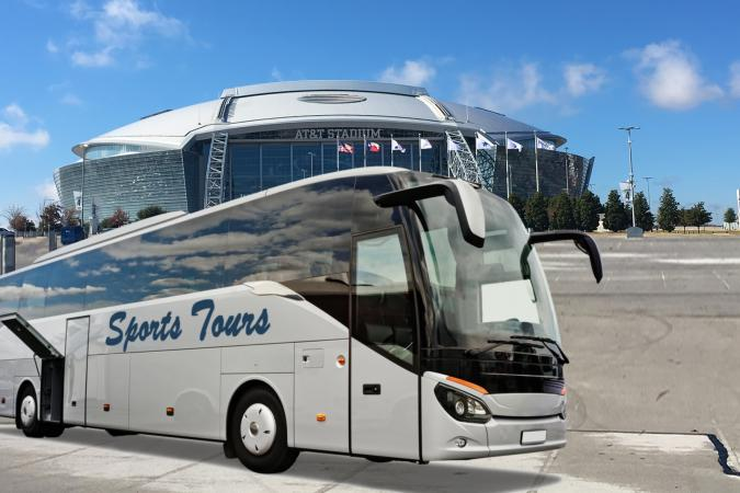 Dallas Cowboys Stadium and tour bus