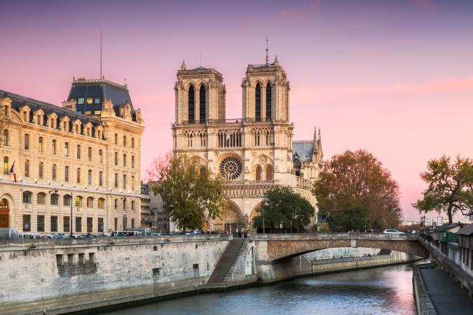 Notre Dame cathedral at sunset