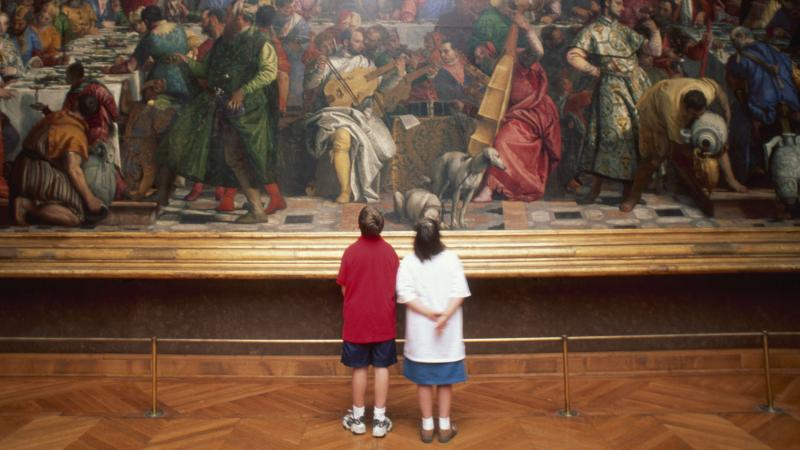 Two Children in Art Gallery looking at painting