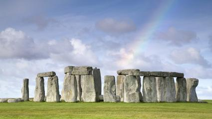 Rainbow over Stonehenge, Salisbury Plain, UK
