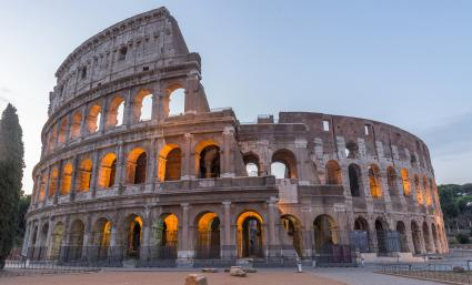 Colosseum (Coliseum) in Rome at dusk