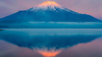 Mount Fuji and reflection Yamanaka lake, Japan